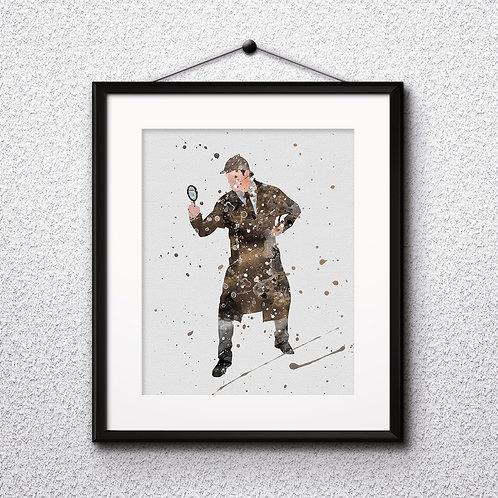 Sherlock Holmes art prints, printable image, poster, watercolor painting, home decor digital art