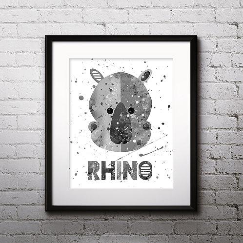 Rhino Nursery Art, Children Decor art, Nursery Poster, Nursery Painting, Nursery Art Print, Nursery Wall Art, Digital picture