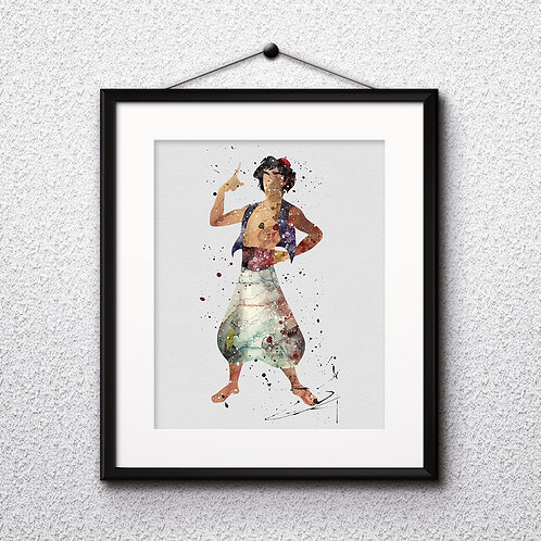 Aladdin art prints, printable image, wall art, watercolor painting