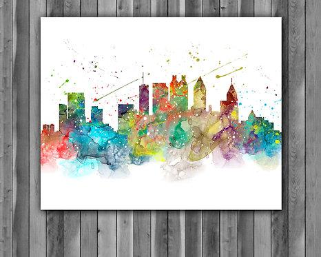 Atlanta Skylines Art, Skylines Art Print, Skylines Poster, Skylines watercolor, Skylines Wall Art, Atlanta art