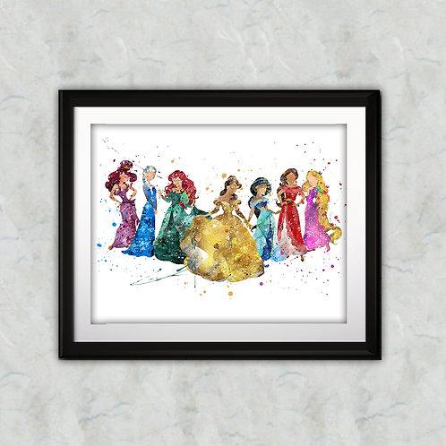 Disney princesses art prints, printable image, wall art, watercolor painting