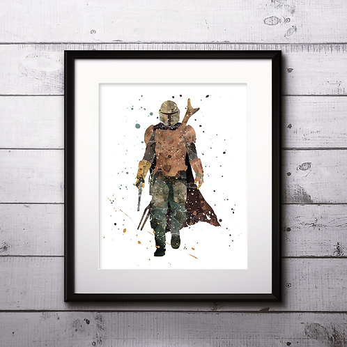 The Mandalorian, Star Wars: The Mandalorian Poster, Yoda Art Print, instant download, Watercolor Print, Wall Decor