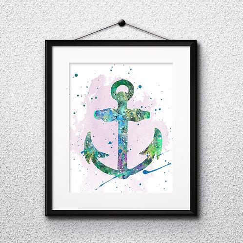 Anchor Art Printable, buy Art Print, buy digital image, buy watercolor, buy painting, buy wall art, buy poster