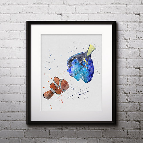 Disney Print Finding Nemo Printable Watercolor Art poster Painting Wall Art gift