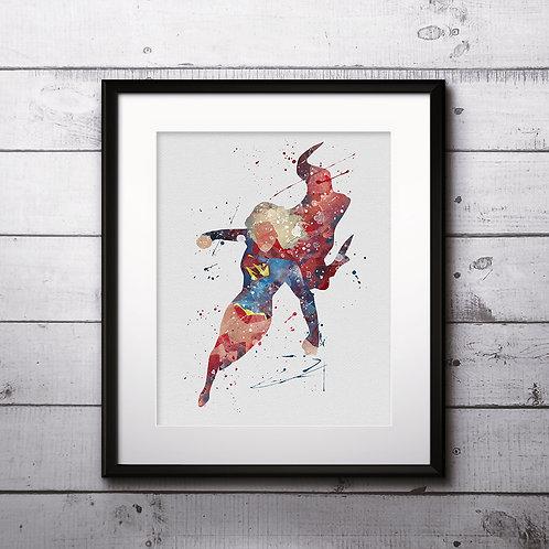 Superhero Supergirl Print Nursery, buy Poster, buy Watercolor Painting, buy Print, buy  Art, buy Wall Art, Watercolor Nursery