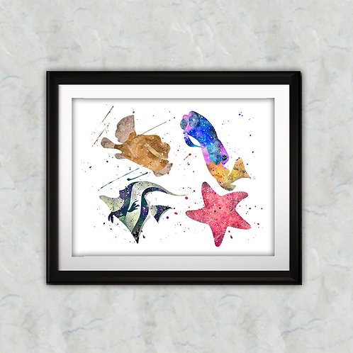Finding Nemo Disney Nursery Art prints, wall art print, watercolor painting, Printable art, Home Decor