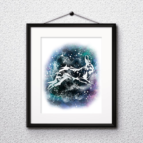 Patronus rabbit Luna Lovegood, Harry Potter illustration watercolor, Art Print, instant download, Watercolor poster