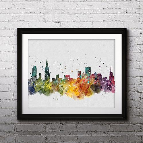 Chicago USA Skylines Art , Skylines Art Print, Skylines Poster, Skylines watercolor, Skylines Wall Art, Chicago art