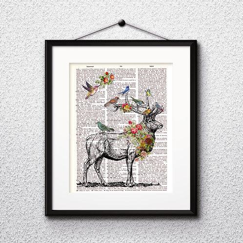 Deer Vintage Dictionary Art Print Art Art Prints Digital Poster Home Decor mixed media art print