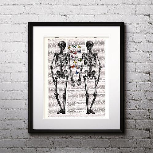 Skeletons Vintage Anatomy art Dictionary Art Print Art Prints Digital Poster Home Decor mixed media art print