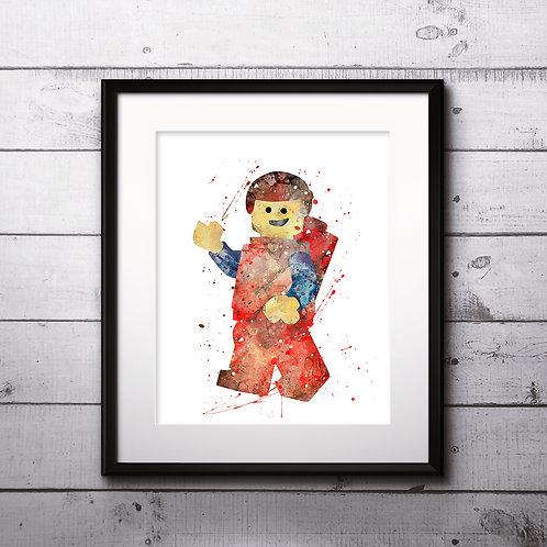 Emmet Lego minifigure, Lego toy man Painting - Art Print, instant download, Watercolor Print