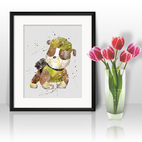 Rubble, Paw Patrol Print - Nursery Decor, watercolor, Art Print, instant download, Watercolor poster