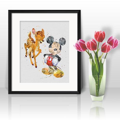 Bambi & Mickey Mouse,Bambi & Mickey Mouse watercolor, Bambi & Mickey Mouse Print, Bambi & Mickey Mouse Art, Mickey art
