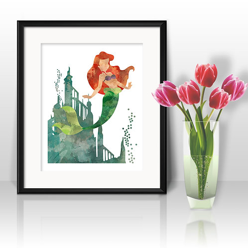 Mermaid Ariel art prints, printable image, wall art, watercolor painting