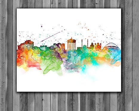 Athens Skylines Art, Skylines Art Prints, Skylines Poster, Skylines watercolor, Skylines Wall Art, Skylines Home art
