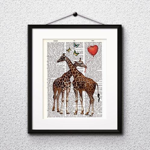 Giraffes love Dictionary Art Prints Digital Poster Home Decor mixed media art print