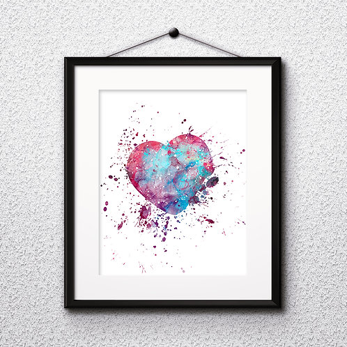Heart Love art print, Heart Love Printable, Heart Love watercolor, Heart Print, Heart, Heart Art, Heart painting