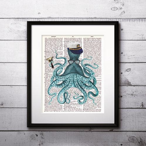Octopus Vintage Dictionary Art Prints Digital Poster Home Decor mixed media art print