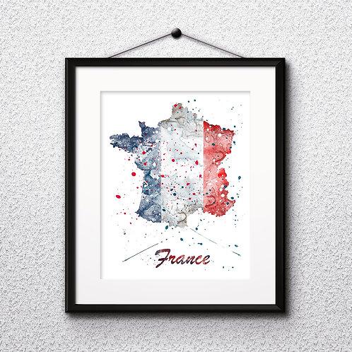 France map Art, France Poster, France Painting, France map Art Print, France Wall Art, France Watercolor art