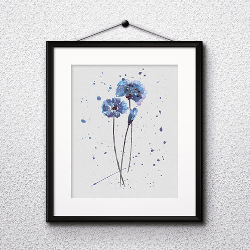 Blue flowers art, Blue flowers art Prints, Blue flowers Posters, Blue flowers watercolor, Blue flowers home decor