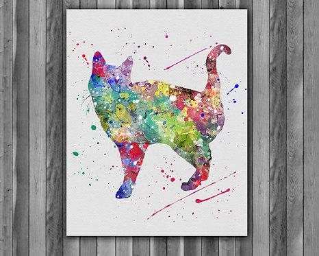 Cat art, Cat Poster, Cat Painting, Cat Art Print, Cat home decor, Cat Wall Art, Cat watercolor
