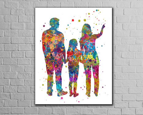 Family Art, Watercolor, Print, Poster, Printable, Painting, wall art, home decor, picture