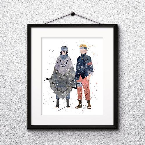 Naruto and Sasuke, Naruto poster - Art Print, instant download, Watercolor Print, Anime watercolor