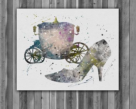 Cinderella art, Cinderella art print, Cinderella print, Cinderella poster, nursery print, nursery art, Cinderella wall art
