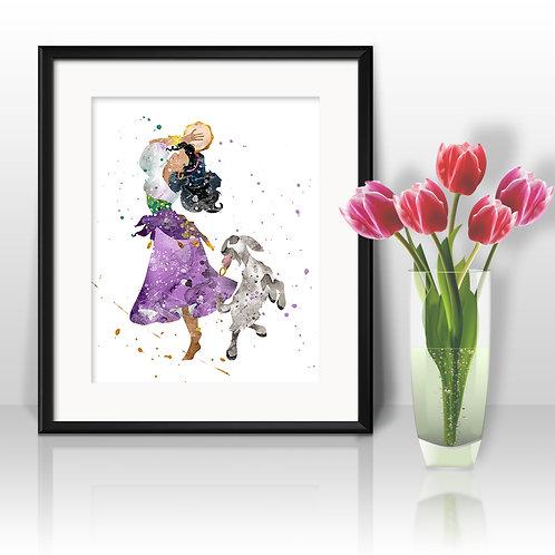 Esmeralda Disney Art Prints Instant Download Printable Watercolor Art Nursery Prints Painting Poster Home Decor Wall Art