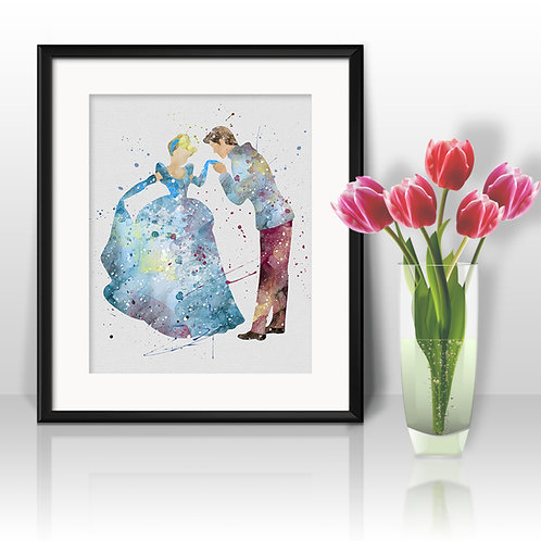 Cinderella Nursery Disney Print Printable Watercolor Art poster instant download