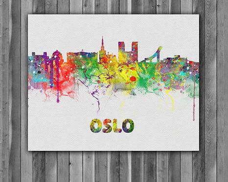 Oslo skyline Art, Oslo skyline Poster, Oslo skyline Painting, Oslo skyline print, Oslo skyline