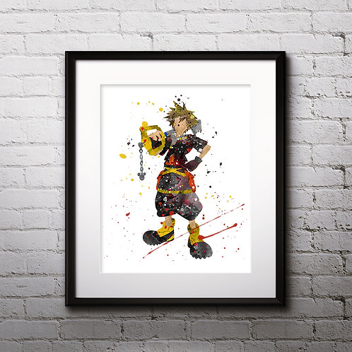 Sora Kingdom Hearts Anime art prints, Anime wall art, Anime watercolor painting, Kingdom Hearts Anime art prints
