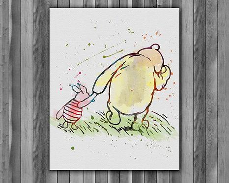 Winnie the Pooh vintage art, Winnie the Pooh print, nursery poster, nursery painting printables, instant download