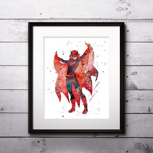 Superhero Batwoman Poster - watercolor, Art Print, instant download, Watercolor Print, poster