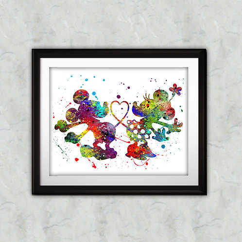 Mickey and Minnie Mouse art prints, printable image, wall art, watercolor paintin