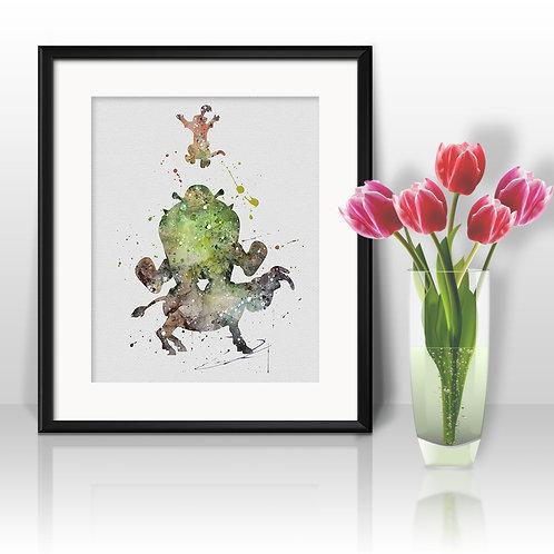 Shrek Disney Watercolor Painting, Shrek art Print, Shrek Poster, Shrek home decor, Shrek wall art, Shrek, Shrek art