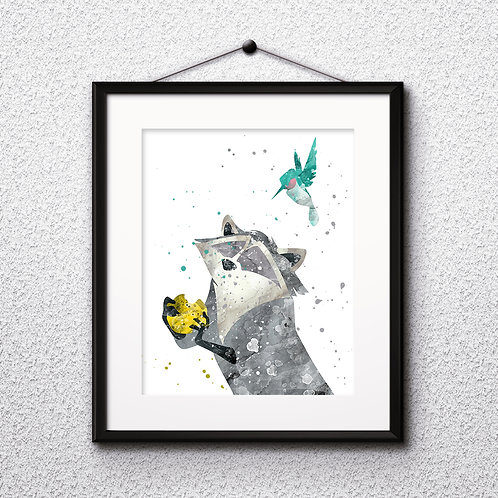 Pocahontas Meeko Disney Wall Art, Art Print, instant download, Watercolor Print, poster
