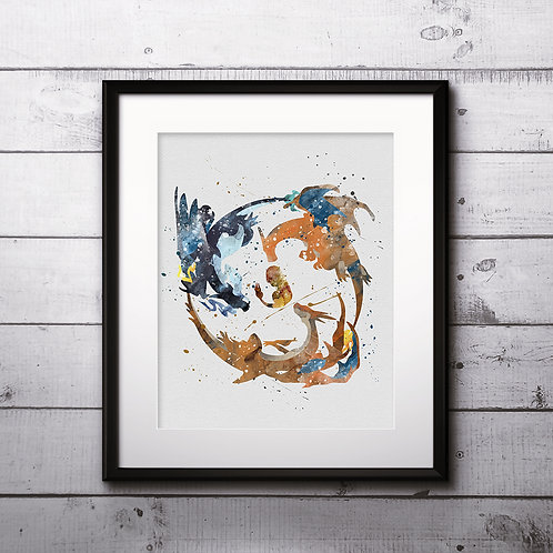 Pokemon Charmander evolution buy Poster, buy Watercolor, buy Print, buy Art, buy Wall Art, Home Decor, instant download