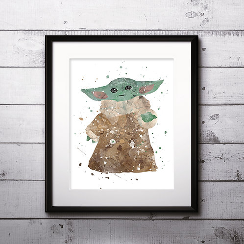 The Mandalorian, Baby Yoda, Star Wars Poster, Yoda Art Print, instant download, Watercolor Print, Wall Decor