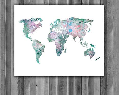 World Map Art, World Map Poster, World Map Painting, World Map print, World Map art print, World Map wall art decor, map art