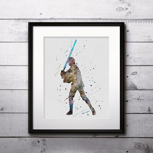 Luke Skywalker Star Wars, Buy Star Wars Painting, Buy Star Wars Art Print, Buy Star Wars Watercolor Print, Star Wars Poster