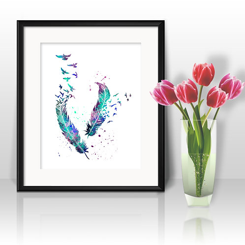 Feathers Print, Feathers Watercolor, Feathers illustration, Feathers Painting, Feathers Art, Feathers Poster, Feathers Wall A