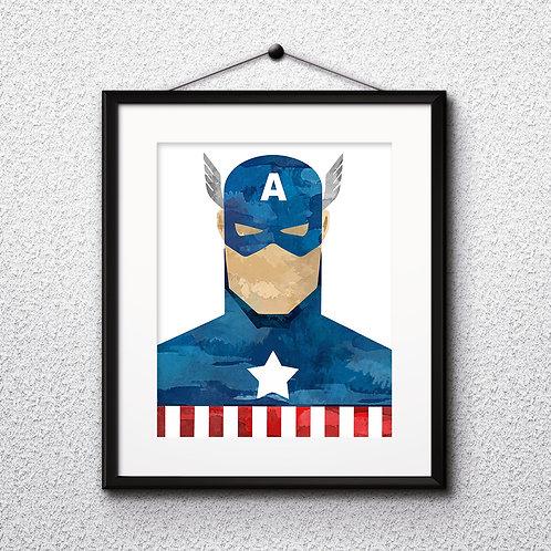 Captain America Superhero Art, Watercolor Printable, Print, Painting, Home Decor, Wall Art Poster, buy poster, buy print