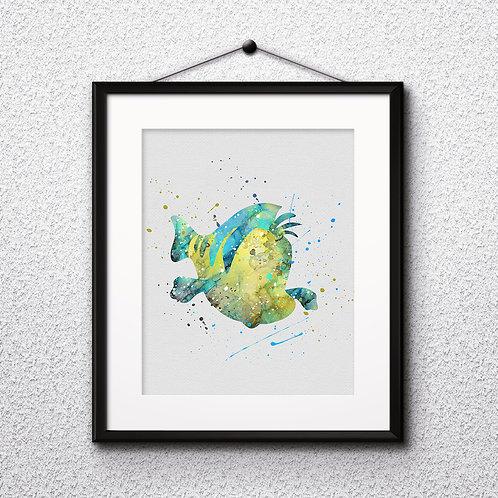 Flounder The Little Mermaid Nursery Disney Print Printable Watercolor Art poster