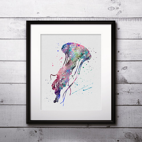 Sea Jellyfish Print, Sea Jellyfish Watercolor, Sea Jellyfish illustration, Sea Jellyfish Painting, Sea Jellyfish Art