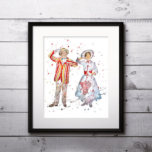 Mary Poppins & Bert art, Disney Poster, Disney Painting, Disney Art Print, Disney home decor, Disney Decor, Disney wall art