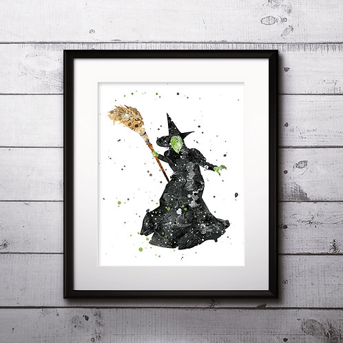 Wicked Witch West art Prints, Wicked Witch Posters, Wicked Witch watercolor, Wicked Witch wall art, Wicked Witch home decor