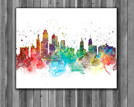 Kansas-City Skyline Art Prints Skylines Painting Skylines Poster Skylines Wall Art Skylines watercolor Skylines Home art