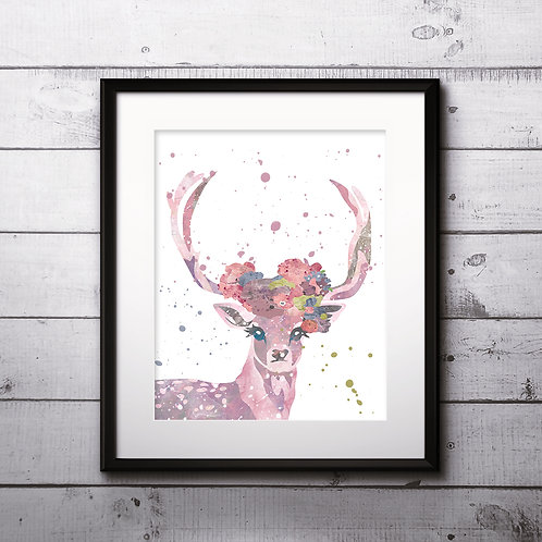 Deer Art Prints Printable Watercolor Art Print Painting Poster Home Wall Art Instant Download Art
