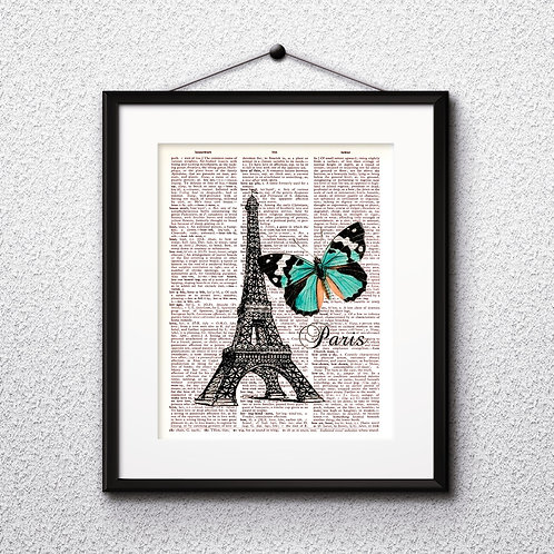 Eiffel Tower vintage Dictionary Wall Art painting Home Decor mixed media art print